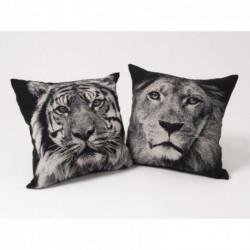 Coussin tigre ou lion en noir et blanc 45 cm