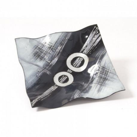 Plat carré en verre décor contamporain gris 28 cm GOYA