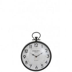 Horloge boule en verre bombé et métal noir