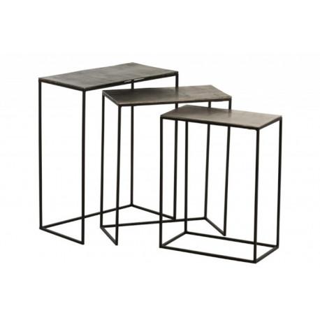 Table gigogne rectangulaire en aluminium mordoré et noir