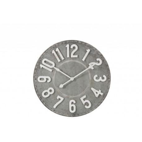 Horloge ronde en métal façon zinc gris et blanc