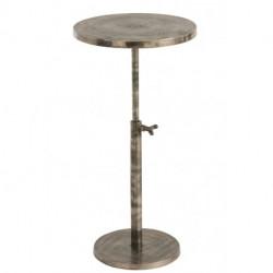 Table Bistro Ronde Ajustable Aluminium Gris