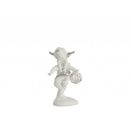 Statuette ange saute mouton en résine blanc et argent