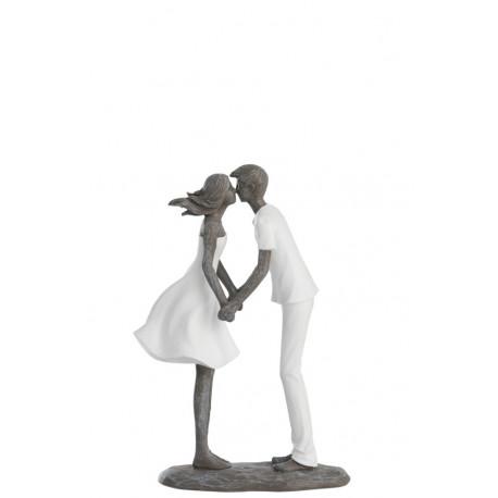 Statuette Bisous d'amoureux en résine blanc et gris