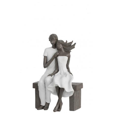 Statuette Couple sur un banc en résine blanc et gris
