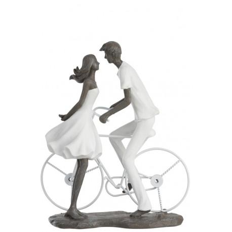 Statuette Bisous d'un couple à vélo en résine blanc et gris
