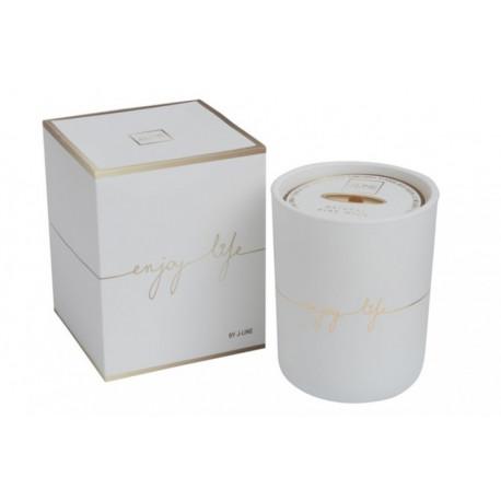 Bougie parfumée dans un verre blanc Enjoy life 80 heures