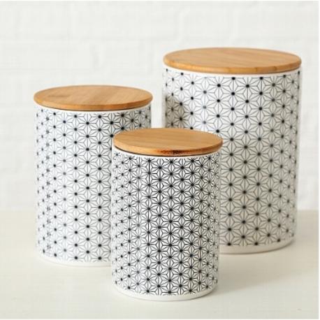 Pot en céramique avec couvercle en bois Nola