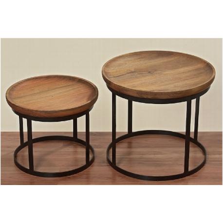 Table basse ronde en manguiere sur pieds en métal noir Kerry