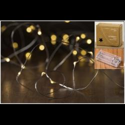 Guirlande lumineuse 40 micro LED à piles en plastique argenté