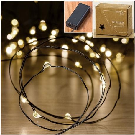 Guirlande lumineuse 20 micro LED à piles plastique noir