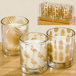 Bougies dans un verre décor or par 3