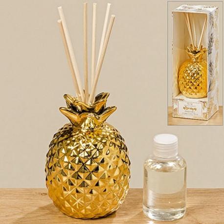 Difffuseur de parfum ananas couleur or