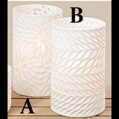 Photophore / Vase en verre teinté blanc