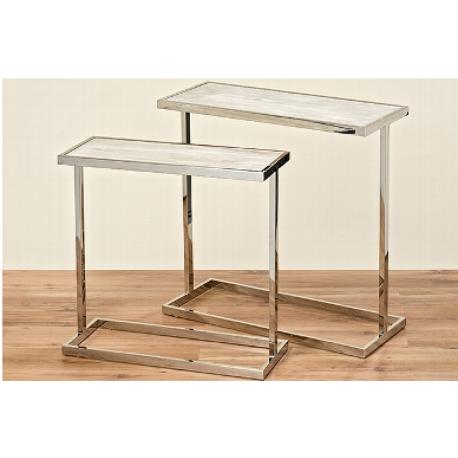 Table rectangulaire en bois et métal argenté Vasco
