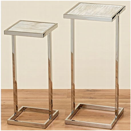 Table carré en bois et métal argenté