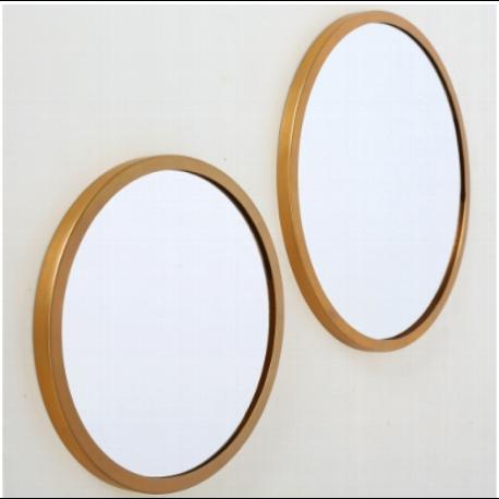 Miroir en métal or rond