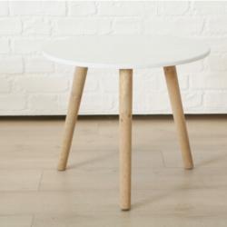 Table ronde en pin blanc ronde Tisch Piro