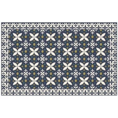 Tapis marguerite bleu en Vinyle PVC 120 x180 cm