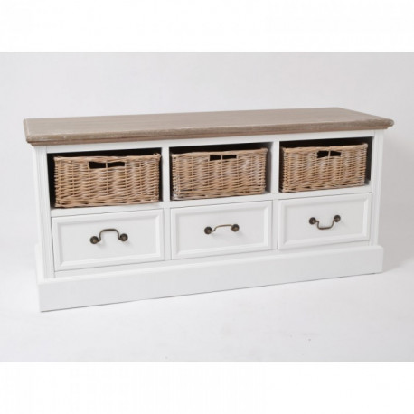 Meuble bas en bois et rotin avec tiroirs blanc Colony