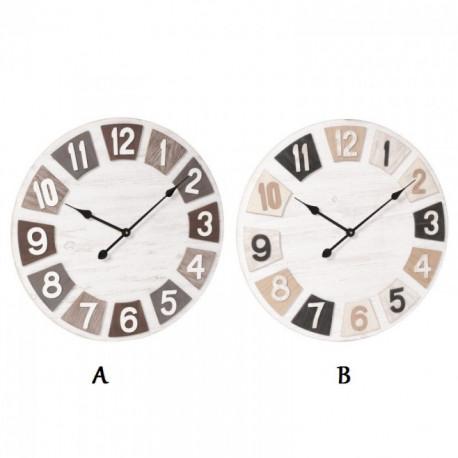 Horloge imitation bois blanc et beige Tempo