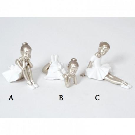 Statuette danseuse en résine blanche et argent