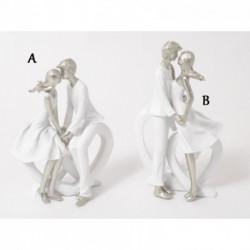 Statuette romantique de couple en résine blanc et argent ROMANCE