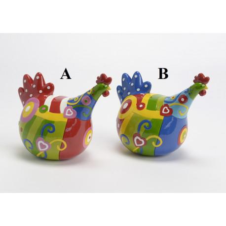 """Statuette poules en résine coloré """"Rigolote"""""""