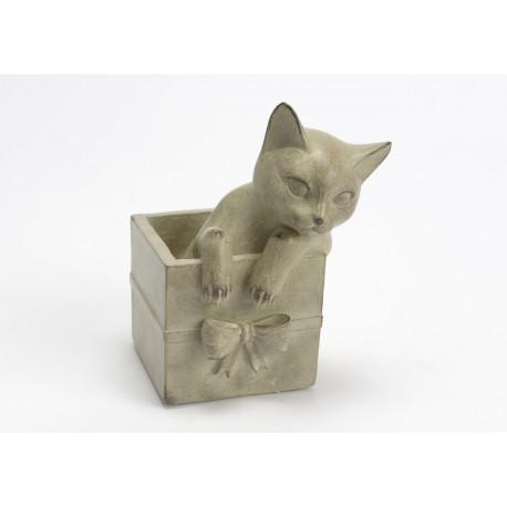 Statuette chat dans un cadeau en résine crème