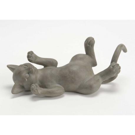 Statuette chat joueur en résine grise