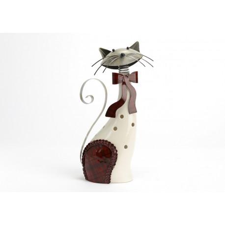 """Statuette chat """"Felix""""en céramique et métal"""
