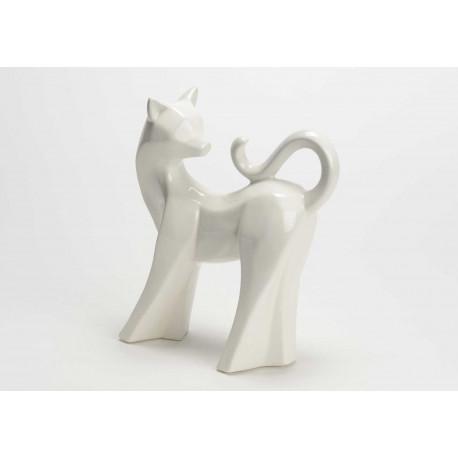 """Statuette chat """"Felio"""" en céramique blanc"""