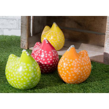 """Statuette poule """"Pepita fleurs"""" en céramique de couleur vive"""