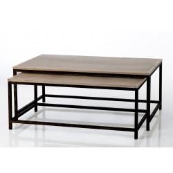 """Table basse """"Antonin"""" en métal et bois"""